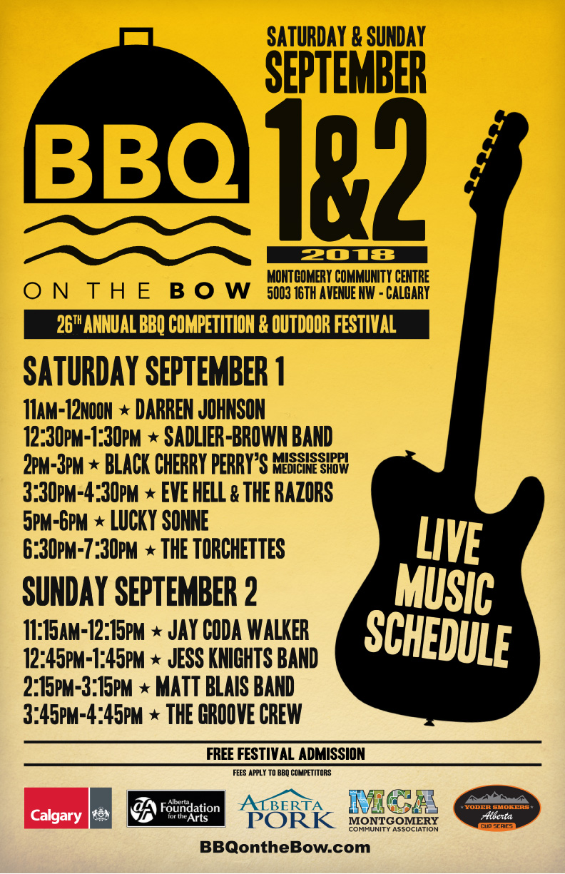 BBQ On The Bow Band Schedule Poster VECT Web